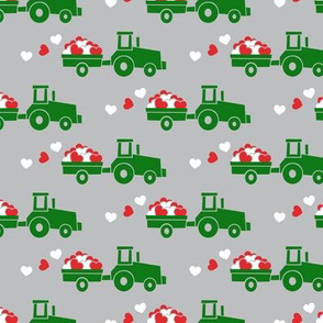 Tractors with hearts - valentines - green on grey