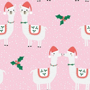 Cute Christmas Llama Couple with holly and snow on pink