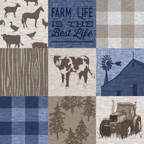 Cow Farm Quilt - Soft Brown And Navy blue