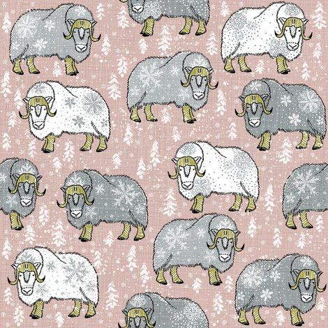 R5wintery-grey-white-musk-oxen-on-pantone-latte-cream_shop_preview