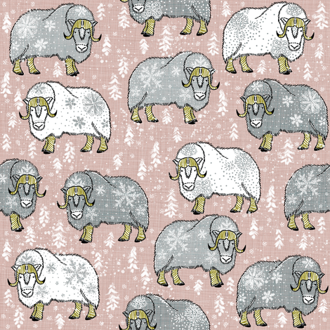 Wintery Grey-White Musk-Oxen on latte-cream fabric by helenpdesigns on Spoonflower - custom fabric