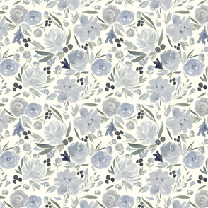 Icy Blue Flowers in Cream