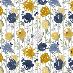 Watercolor Floral - Navy & Mustard on Gray Stripes ROTATED