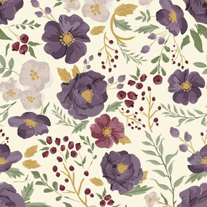 Saturated Autumn Meadow Floral on Cream