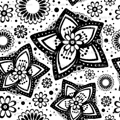 Large Scale Coloring Book Floral Print