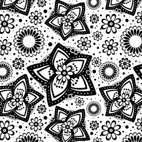 Large Scale Coloring Book Floral Print fabric by spontaneouscombustion on Spoonflower - custom fabric
