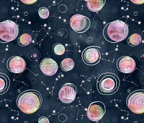 Cosmic Harmony - Watercolor Planets and Constellations fabric by marketa_stengl on Spoonflower - custom fabric