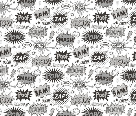 Superhero Comic Pop art Speech Bubbles Words Black & White Grey Larger 7,5 inch fabric by caja_design on Spoonflower - custom fabric