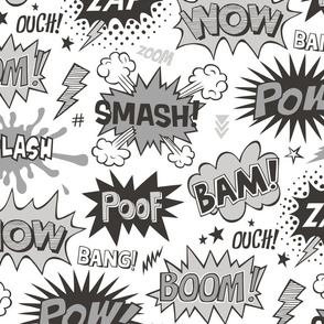 Superhero Comic Pop art Speech Bubbles Words Black & White Grey Larger 7,5 inch