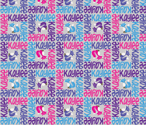 personalised name design - 4way with pic fabric by spunkymonkees on Spoonflower - custom fabric