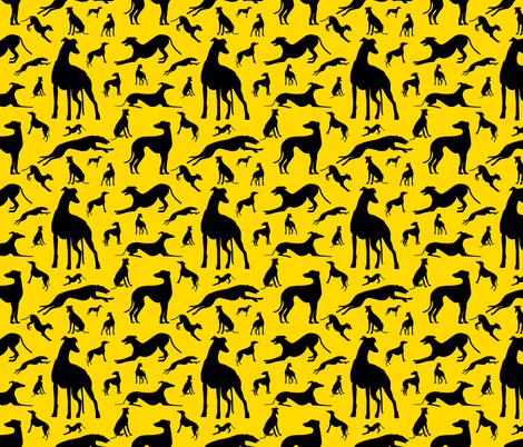 Greyt_Greyhound_Silhouettes_on_Yellow fabric by stardusted_hearts on Spoonflower - custom fabric