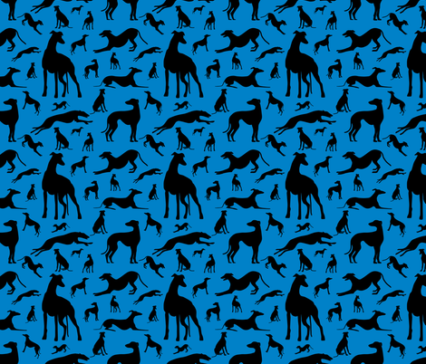 Greyt_Greyhound_Silhouettes_on_Blue fabric by stardusted_hearts on Spoonflower - custom fabric