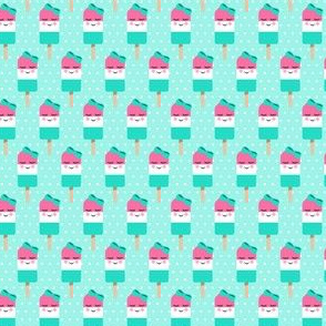 "(1"" scale) Cute Popsicles - pink on aqua polka dots C18BS"