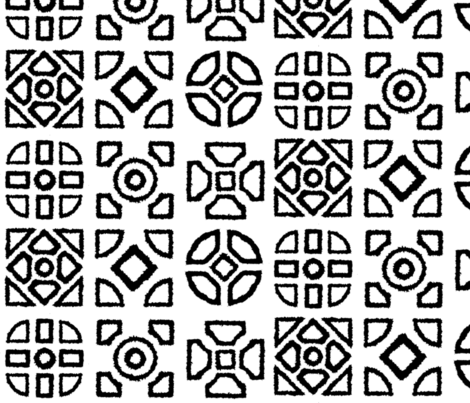 Hedgerow Motif Black and White fabric by engravogirl on Spoonflower - custom fabric