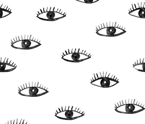 Big eyes watching you || watercolor fabric by katerinaizotova on Spoonflower - custom fabric