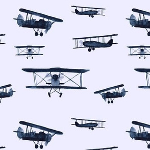 Retro air planes in blue-grey || watercolor for baby boys