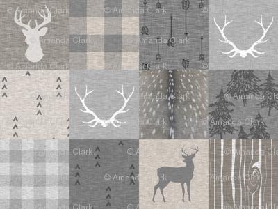 Rustic Woodland Neutrals Quilt - no little man - Beige, grey, taupe