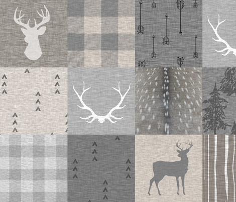 Rustic Woodland Neutrals Quilt - no little man - Beige, grey, taupe fabric by sugarpinedesign on Spoonflower - custom fabric