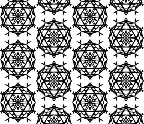 Crystal Star Lanterns of Black on White - Large Scale fabric by rhondadesigns on Spoonflower - custom fabric