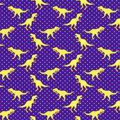 Little Yellow T-Rex Dinos with Aqua Dots on Purple Custom Request