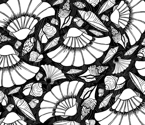 Scratchboard Sea Shell Collection, XL fabric by palifino on Spoonflower - custom fabric