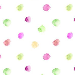 Mint and berry pink watercolor polka dot