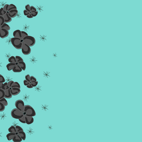 Black and Gray Painted Poppies on Aqua