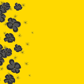 Black and Gray Painted Poppies on Bright Yellow