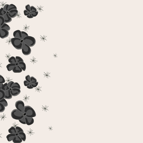 Black and Gray  Painted Poppies on Cream