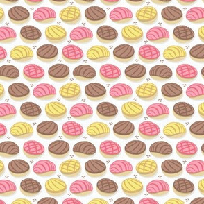 Mexican conchas // tiny scale // white background pink yellow & brown shells