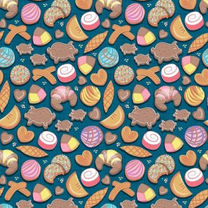 Mexican Sweet Bakery Frenzy // tiny scale // turquoise background // pastel colors pan dulce