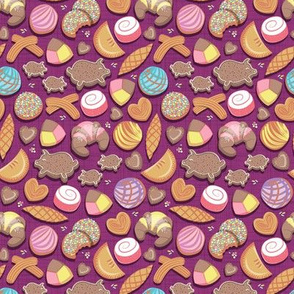 Mexican Sweet Bakery Frenzy // tiny scale // pink background // pastel colors pan dulce