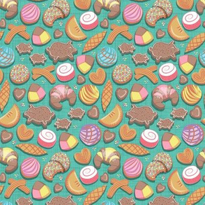 Mexican Sweet Bakery Frenzy // tiny scale // teal background // pastel colors pan dulce