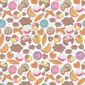 Tiny scale // Mexican Sweet Bakery Frenzy // pink background // white pan dulce