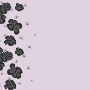 Black and Gray Painted Poppies on Lilac