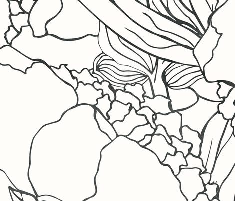 Black Peonies fabric by lidiebug on Spoonflower - custom fabric