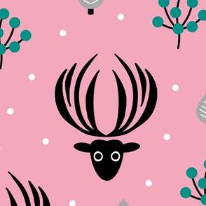 Reindeer winter wonderland Christmas seasonal woodland theme design night garden gender neutral girls Pink XL