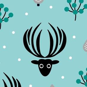 Reindeer winter wonderland Christmas seasonal woodland theme design night garden gender neutral gray blue XL