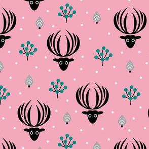 Reindeer winter wonderland Christmas seasonal woodland theme design night garden gender neutral girls pink