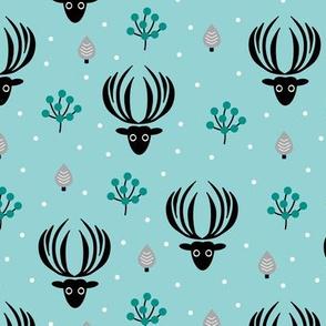 Reindeer winter wonderland Christmas seasonal woodland theme design night garden gender neutral boys blue