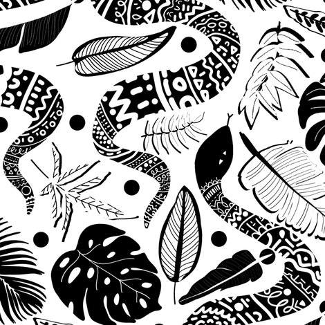 Tribal Black Mambas - White  (Large version)   fabric by tigatiga on Spoonflower - custom fabric