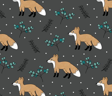 Little Fox forest love winter wonderland Christmas design gender neutral gray XL fabric by littlesmilemakers on Spoonflower - custom fabric