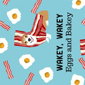 Eggs and Bacon Corgi Tea Towel - kitchen tea towel, dish towel, eggs and bakey, corgi bacon costume, cute corgi  dog, dog illustration - pet friendly design