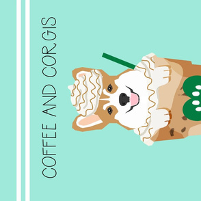 Coffee and Corgis Tea Towel - Corgi Puppuccino - dog tea towel, kitchen tea towel, dish towel, dogs and coffee tea towel, pet friendly design