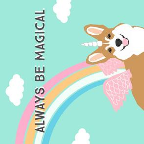 Magical Corgi Tea Towel design - Corgi Unicorn fabric - corgi unicorn illustration - kitchen tea towel, kitchen dish towel - dog tea towel pet friendly design