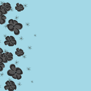 Black and Gray  Painted Poppies on Pastel Blue