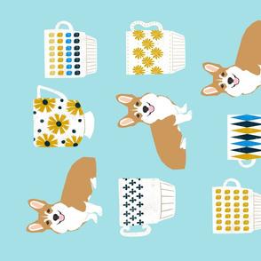 Corgi Teacup Tea Towel Fabric - vintage corgi design, kitchen tea towel, dish towel, corgis and tea, dogs and tea illustration, pet friendly design