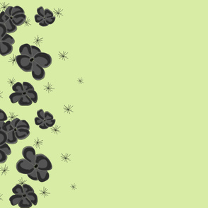 Black and GrayPainted Poppies on Pastel Green