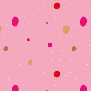 Paper cut confetti party little dots and snow flakes red pink