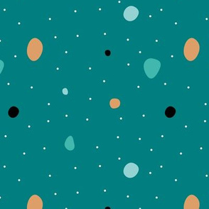 Paper cut confetti party little dots and snow flakes teal mint